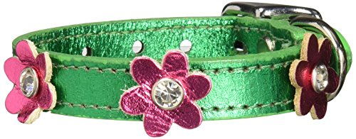 "Mirage Pet Products 83-08 10EmgM-PkM Flower Leather Dog Collar, 10"", Emerald Green/Metallic Pink"