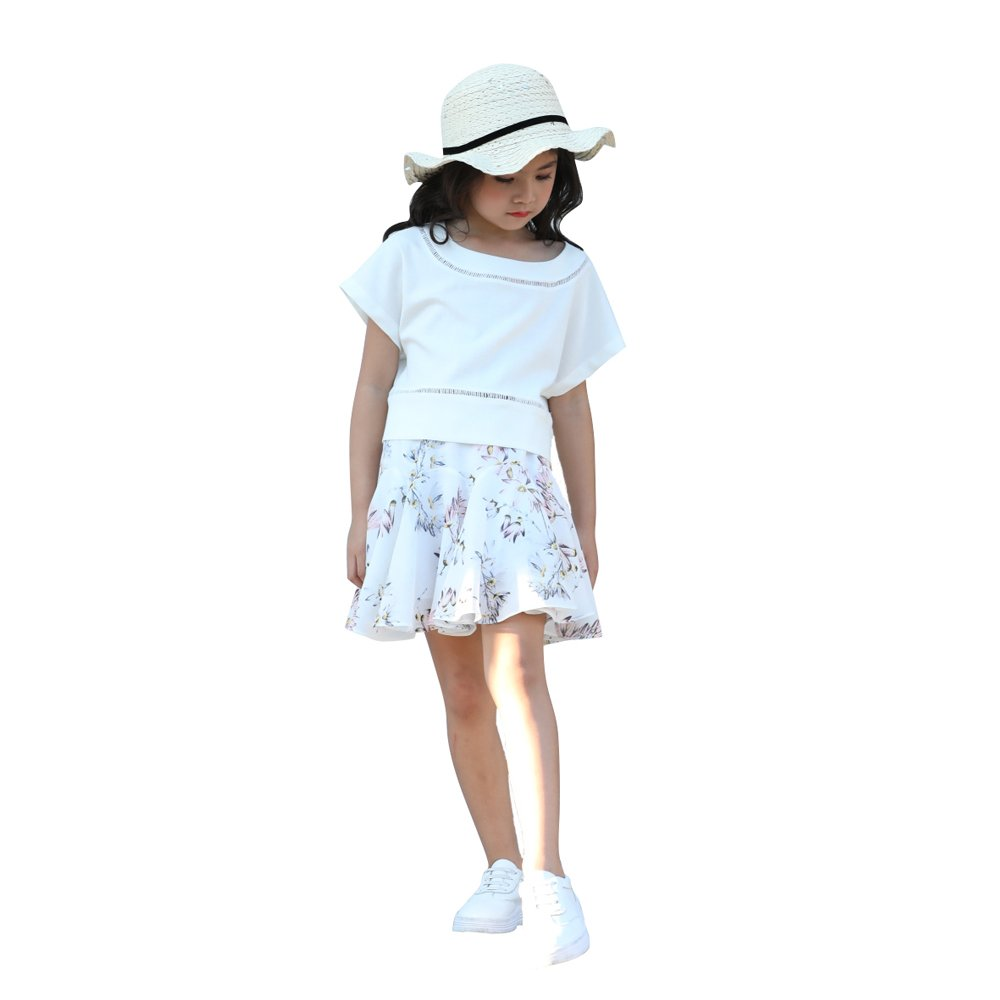 AIMBAR Kids Cute Toddler Girls Clothes Sets Fashion T-Shirt & Flower Skirt Summer Outfits 4-13 Years (White, 10-11 Years)