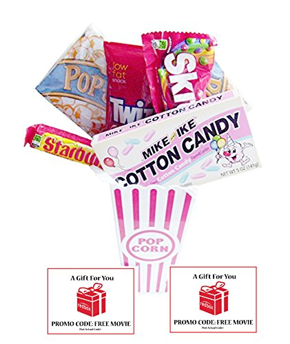 Movie Night Popcorn and Retro Cotton Candy Mike and Ikes Gift Basket With Redbox Movie Rentals Gift Cards ~ Includes Movie Theater Butter Popcorn, Concession Stand Candy and 2 Redbox Movie Rentals ()