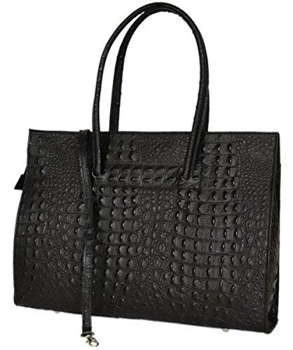 fashion-formel - Bolso al hombro de cuero para mujer Negro_KroKo