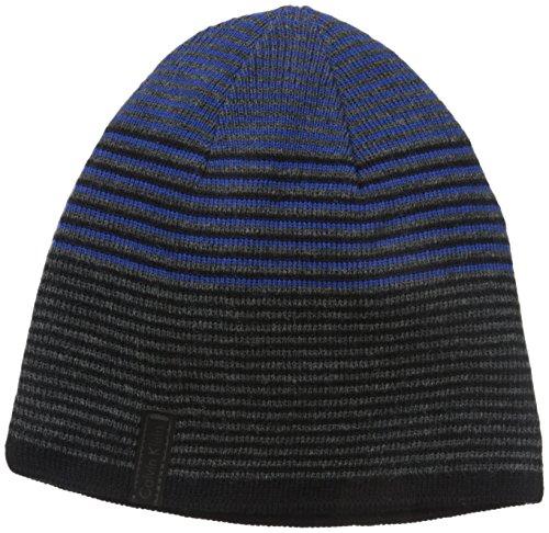 (Calvin Klein Men's Ombre Logo Reversible Beanie, Royal Blue, One Size)