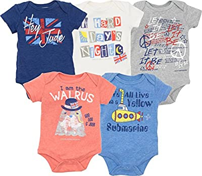 The Beatles Lyrics Infant Baby Boys' 5 Pack Onesies Blue, Red, White, Navy, Grey