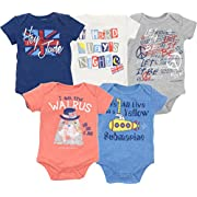 The Beatles Lyrics Infant Baby Boys' 5 Pack Onesies Blue, Red, White, Navy, Grey (6-9 Months)