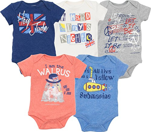 The Beatles Lyrics Infant Baby Boys' 5 Pack Bodysuits Blue, Red, White, Navy, Grey (18 - Toddler Girls Shirt Rock