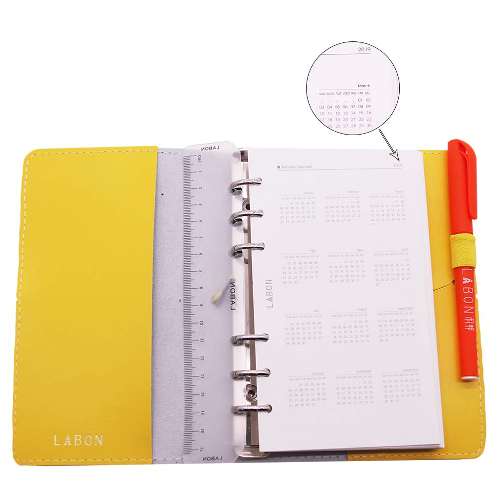 Labons 6 Round Ring Binder Hardcover Refills Planner for Monthly Weekly Daily Schedule / 2018 2019 2020 Calendar / Telephone & Address / Personal ...