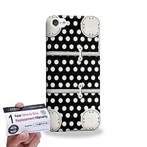 Case88 [Apple iPod Touch 6] 3D impresa Carcasa/Funda dura para & Tarjeta de garantía - Art Fashion Black Dot Luggage