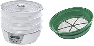 "Presto 06301 Dehydro Digital Electric Food Dehydrator & SE Patented Stackable 13-1/4"" Sifting Pan, 1/4"" Mesh Screen - GP2-14"