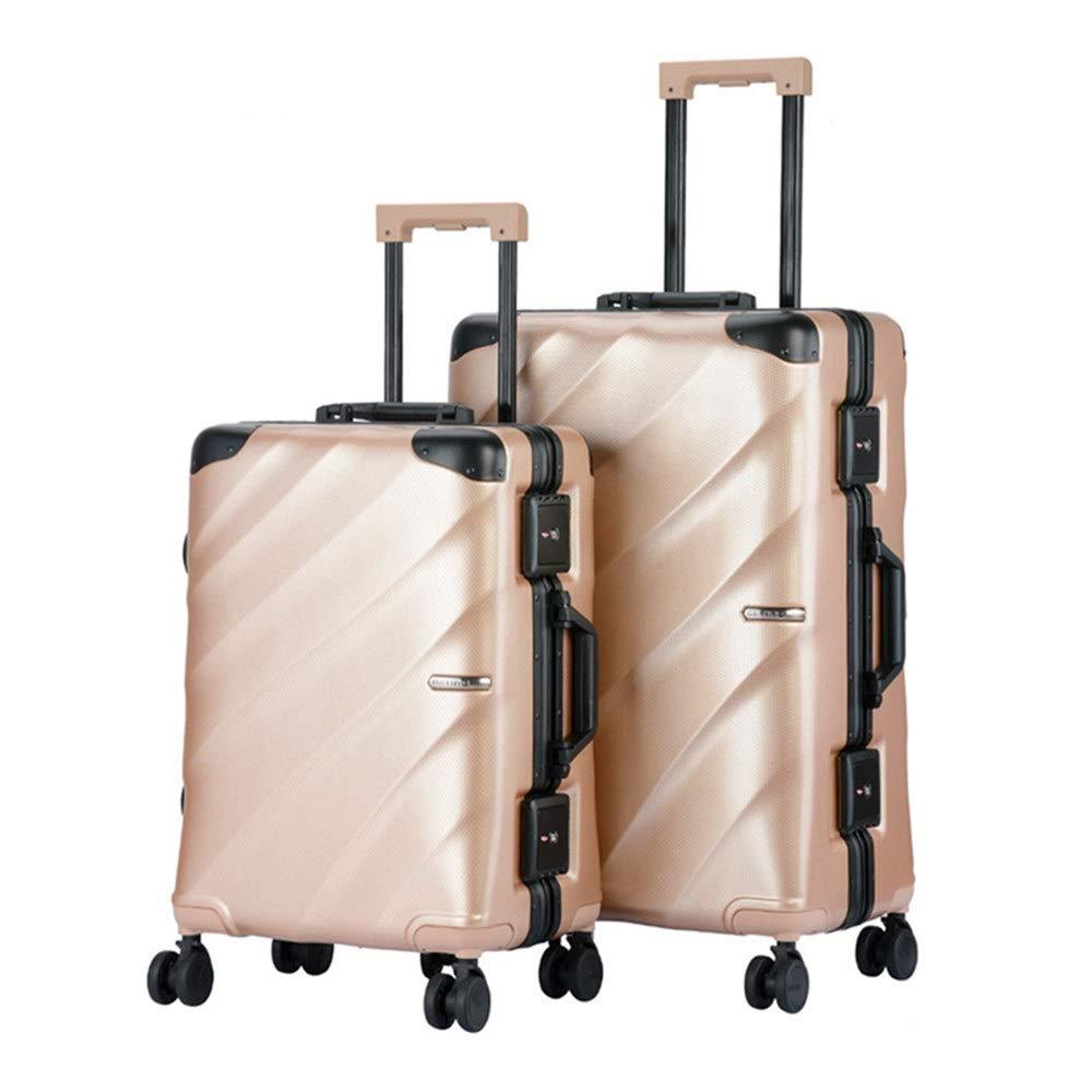 スーツケース 防水20インチ24インチ荷物2個セットTSAロックスーツケーススピナーハードシェル軽量入れ子セットキャリーオンアップライトスーツケース 大容量旅行スーツケース (色 : ゴールド, サイズ : 20in+24in) 20in+24in ゴールド B07RQ4GM7G