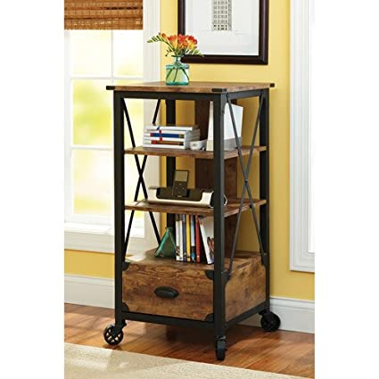 Better Homes And Gardens Rustic Country Tech Pier, Antiqued Black/Pine  Finish