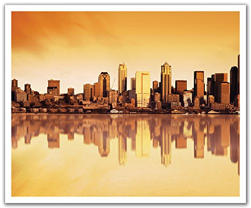 JP London POSLT2214 uStrip Lite Removable Wall Decal Sticker Mural The Windy City Chicago Skyline, 24-Inch x -