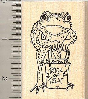 - Trick or Treat Halloween Frog Rubber Stamp - Wood Mounted