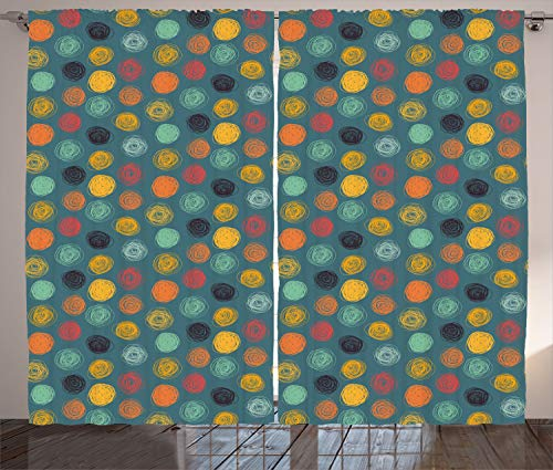Multi Circles Coloured - Ambesonne Modern Decor Curtains, Geometrical Sketchy Abstract Image with Colorful Circles Jade Green Backdrop, Living Room Bedroom Window Drapes 2 Panel Set, 108W X 84L Inches, Multicolor