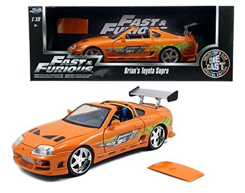 Jada New 1:18 Fast & Furious 7 - Orange Brian's Toyota Supra with Removable ROOF Diecast Model Car Toys