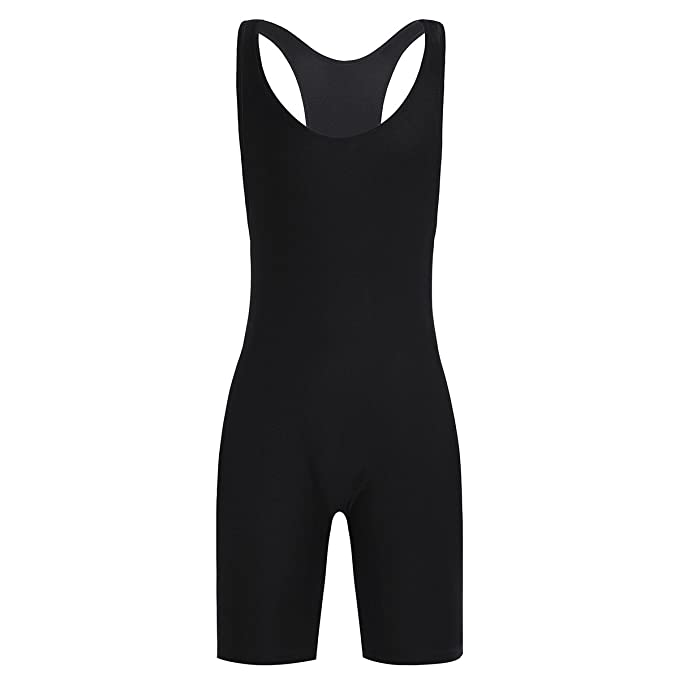 4081e0dd51c6 Freebily Men's Sleeveless One-Piece Boxers Leotard Bodysuit Underwear  Sportswear Wrestling Singlet Jumpsuit Black Medium