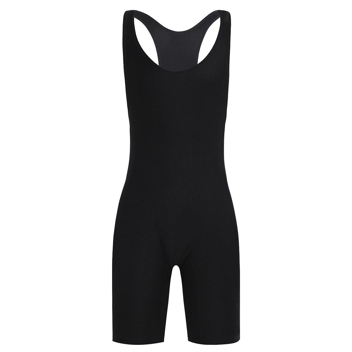 FEESHOW Men's Wrestling Singlet One Piece Sport Bodysuit Leotard Gym Outfit Underwear Black X-Large