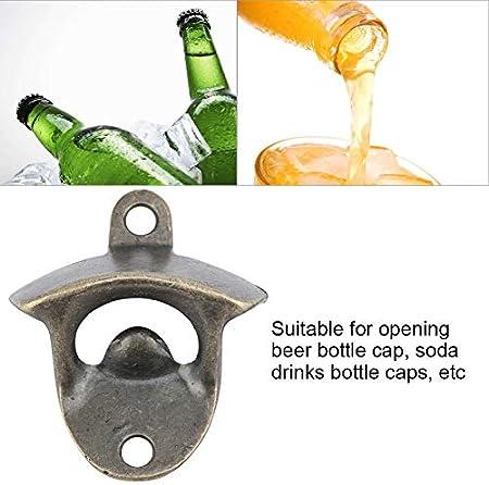 Abrebotellas montado en la pared, abridor de botellas de cerveza de aleación de zinc Accesorios para abridor de barra para el hogar de montaje en pared(5PCS)