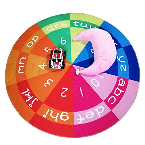 Habudda Round Nursery Rugs Educational ABC Alphabet Area Rugs Kids Short Plush Flannel Baby Crawling Rugs Area Rugs Kids Round 1.2 Meters 47.24 inch Diameter (Multicolor)