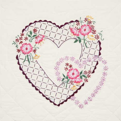 Fairway 95310 Quilt Blocks, Interlocking Hearts Design, White, 6 Blocks Per Set