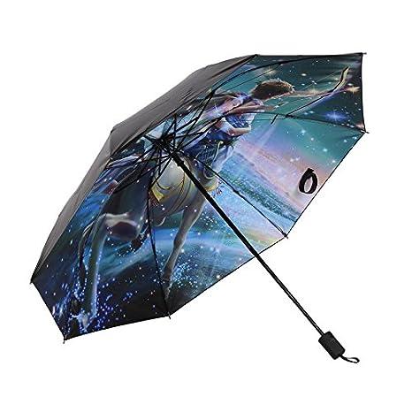 Negro Paraguas plegable mejor cortavientos paraguas compacto de viaje abrir y cerrar Manual para hombres y