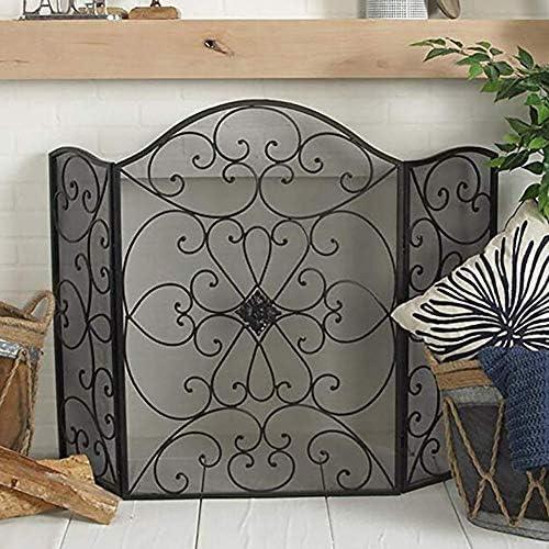 暖炉スクリーン MYL ホーム&ハース三つ折り火スクリーン、錬鉄渦巻き暖炉スクリーンメタルメッシュカバー暖炉立ち門、ブラック (Color : Black)