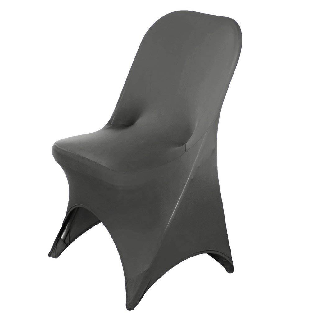 Efavormart 50個 伸縮性 スパンデックス フィット 折りたたみ 椅子カバー ダイニングイベント シート スリップカバー グレー  グレー B07KBB7HJX