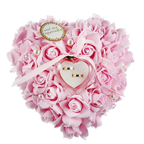 Somnr® 1PCS Wedding Favors Ring Pillow With Transprent Ring Box Heart Design Very Special Unique Ring Pillow Decorations Favor Pink