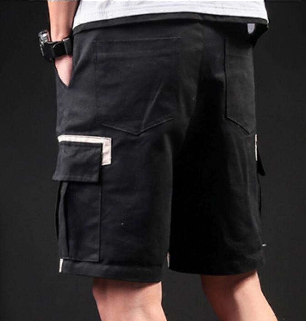 JYZJ-Men Casual Mid Waist Multi Pockets Contrast Loose Cargo Shorts