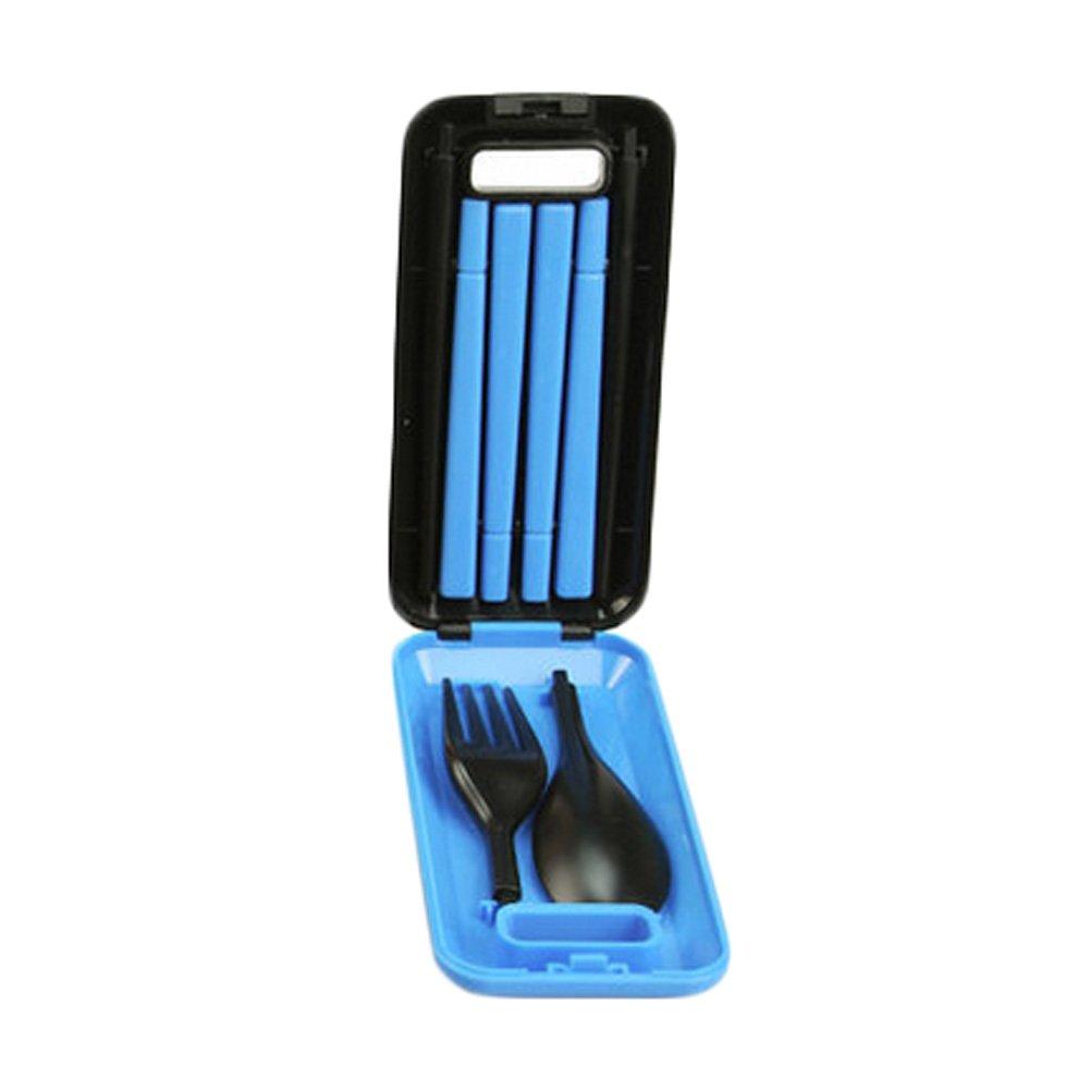 ポータブルキャンプテーブルウェアセットスプーンフォーク箸(ブルー) B00VE6LX4Q