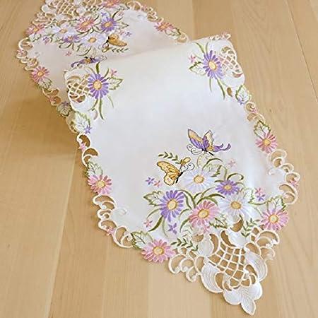 KAMACA Lovely Beurrier avec de Magnifiques Papillons et Fleurs brod/ées et Broderies de qualit/é sup/érieure Tischl/äufer 40x90 cm Oval Polyester