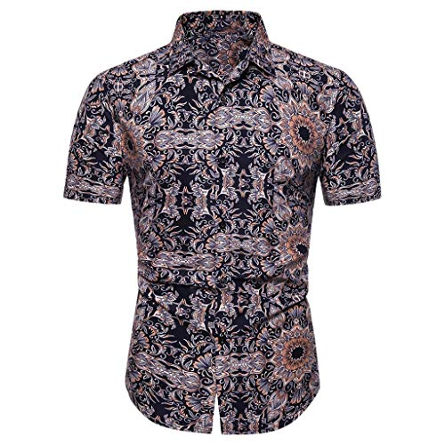 - YOcheerful Men's Tops Casual Button Down Print Beach Short Sleeve Tops Loose Summer Work Daily Blouses(Brown, 3XL)