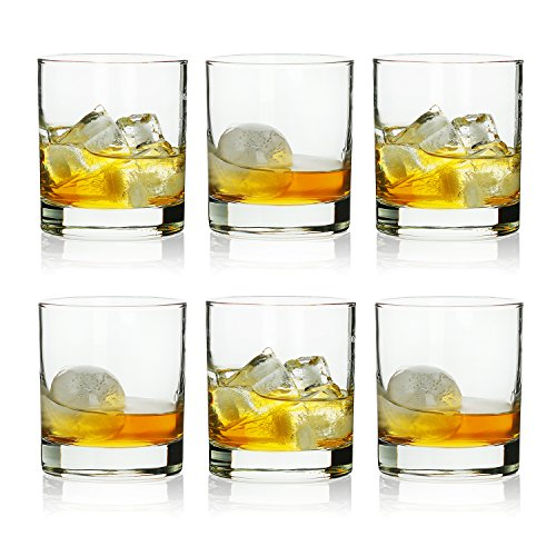 Nova Back Glass - Rock Style Old Fashioned Whiskey Glasses 11 Ounce, Short Glasses For Camping/Party,Set Of 6