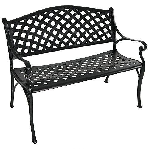Sunnydaze Black Checkered Outdoor Patio Bench, Durable Cast Aluminum Metal, 2-Person Seating