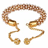 Efulgenz Indian Traditional Bollywood Handcrafted 18 K Gold Plated Pearl Cuff Wrap Bracelet Bangle with Hangings Jewelry for Women and Girls