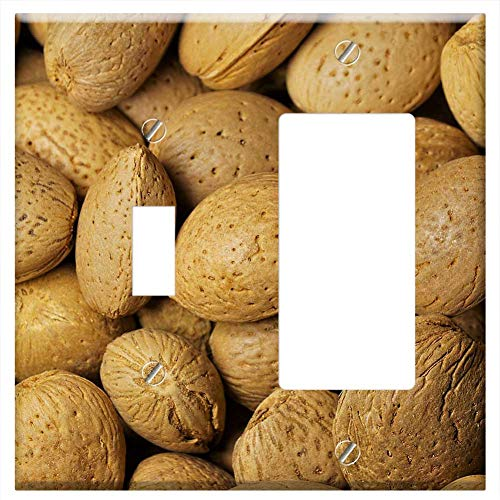 Almond Nibbles - 1-Toggle 1-Rocker/GFCI Combination Wall Plate Cover - Almonds Nuts Nibble Food Delicious Shell