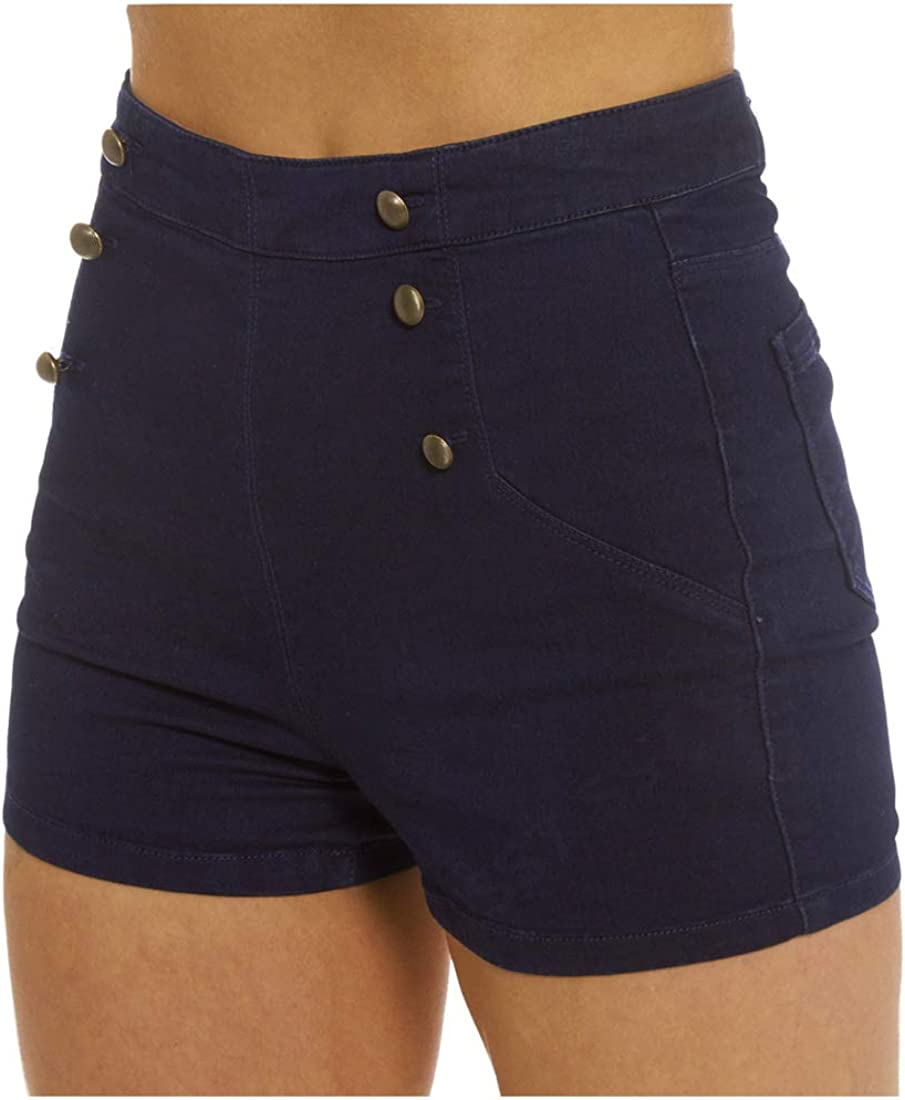 Sizes 8 to 14 SS7 New Womens High Waist Denim Shorts Navy