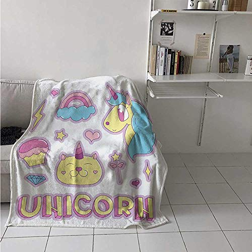 Unicorn Cat Weave Pattern Extra Long Blanket Collection Fantastic Icons Magic Horse Kitten Cupcake Rainbow Custom Design Cozy Flannel Blanket 80x60 Inch Sky Blue Pink Pale Yellow]()