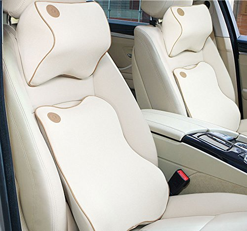 Anyshock-Car-Seat-Headrest-Pillow-and-Car-Lumbar-Support-Pillow-Travel-Auto-Head-Neck-Rest-Cushion-with-Ergonomically-Design-for-Adjust-Sitting-Position-Relief-Pain-of-BackSpineCoccyx-Beige