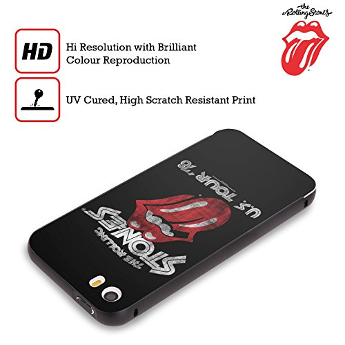 Officiel The Rolling Stones Tour Américain 78 Art Clé Noir Étui Coque Aluminium Bumper Slider pour Apple iPhone 5 / 5s / SE