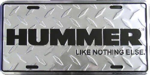 Hummer Diamond embossed background metal auto tag 6 x 12 Tag City