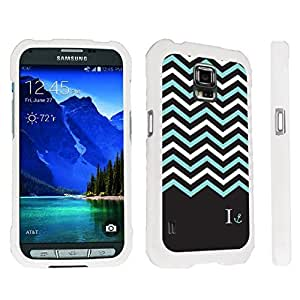 DuroCase ? Samsung Galaxy S5 Active SM-G870A Stylish Hard Case White - (Black Mint White Chevron I)