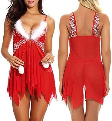 HOUMENGO Navidad Moda Mujer Lencería sexy Muselina Ropa interior ...