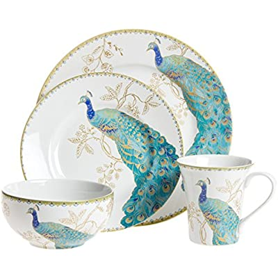 Click for Peacock Garden 16 Piece Dinnerware Set