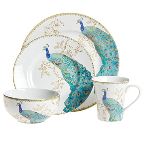 Peacock Garden 16 Piece Dinnerware Set (Peacock Blue Plates)