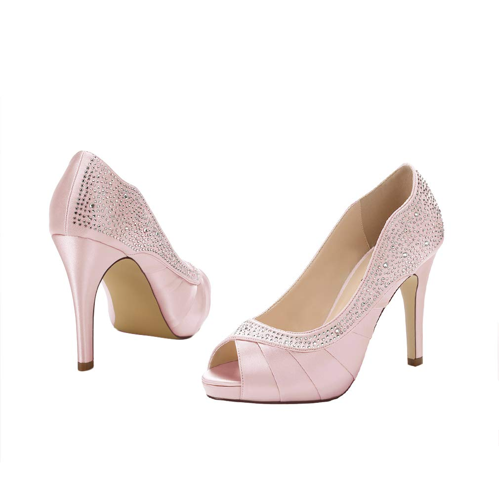 b140fc5f368b Amazon.com  ERIJUNOR Women Peep Toe High Heels Comfortable Fashion  Rhinestones Satin Evening Prom Wedding Sandal Shoes  Shoes