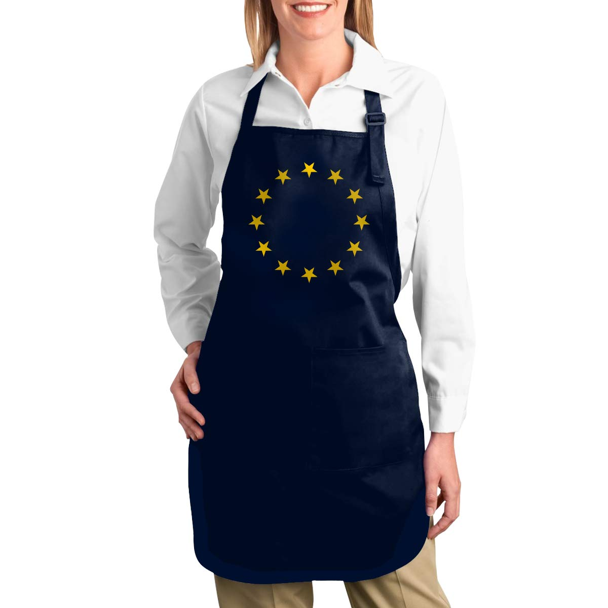 ANZIKEJI European Union EU Flag Euro EU Stars Brexit Remain Heavy Duty Canvas Work Apron,Tool Pockets Back Straps Adjustable