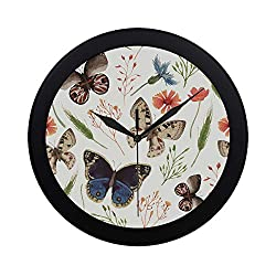 Limiejo Modern Simple Girls Butterfly Fairy with Flowers Wall Clock Indoor Movement Wall Clcok for Office,Bathroom,livingroom Decorative 9.65 Inch