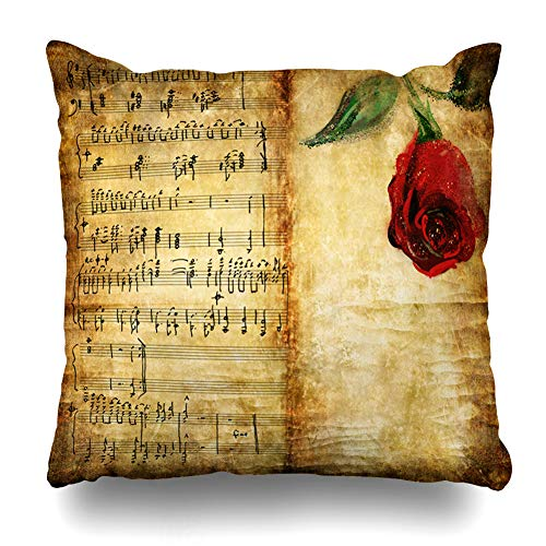 Ahawoso Throw Pillow Cover Broad Brown Antique Romantic Vintage Note Pages Rose Parchment Music Melody Old Retro Abstract Aged Home Decor Cushion Case Square Size 16 x 16 Inches Zippered Pillowcase