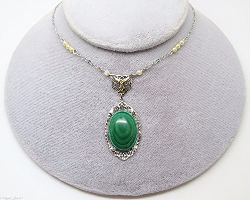 10K Gold Art Deco Malachite Necklace with Seed Pearls (#3172)