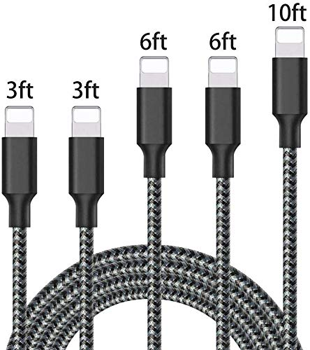iPhone Charger,Mfi Certified Lightning Cables 5pack 2X3FT 6FT 6FT 10FT to USB Syncing Data and Nylon Braided Cord Charger for iPhone XS/Max/XR/X/8/6Plus/6S/7Plus/7/8Plus/SE/iPad and More