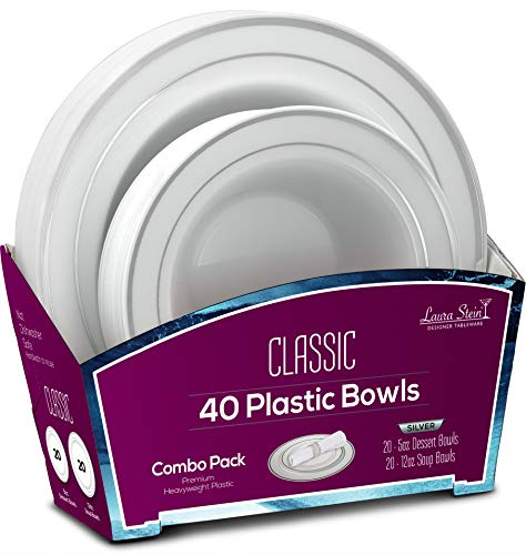 (Laura Stein Party Bowls Set of 40 Disposable Combo Set Includes 20-5oz Dessert Bowls + 20 12oz Soup Bowls for Birthdays, Weddings, Events Holidays (White & Silver, 40 Piece Set (20 Sets)))